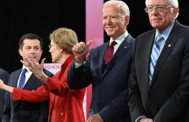 Democratic presidential candidates Pete Buttigieg, left, Elizabeth Warren, Joseph R. Biden Jr., and Bernie Sanders stood on stage at the PBS NewsHour/Politico debate Thursday in Los Angeles. Photo: Courtesy NPR