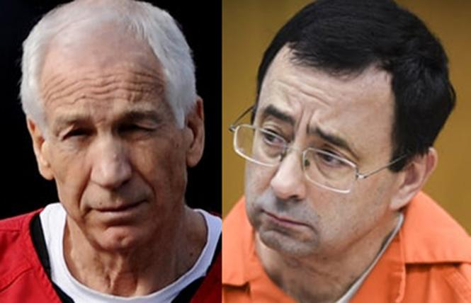 Jerry Sandusky, left, and Larry Nassar were two of sports sexual predators during the last decade. Both are now in prison.