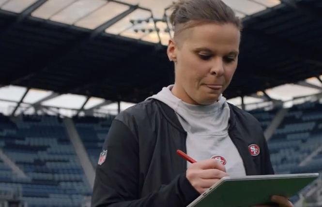 San Francisco 49ers offensive assistant coach Katie Sowers stars in a Microsoft ad. Photo: Screenshot courtesy Microsoft