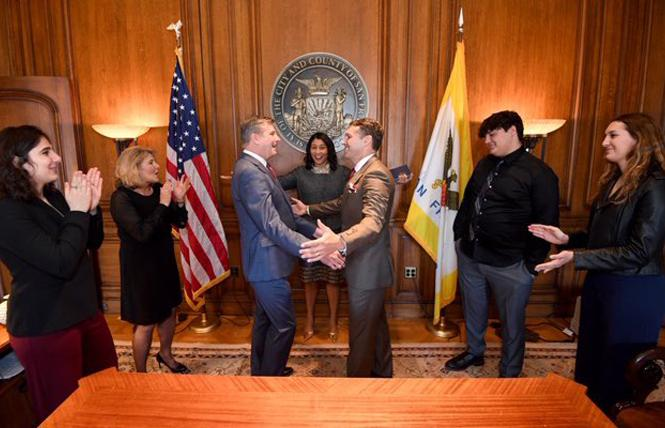 Rick Welts married his partner, Todd Gage, last Friday in a City Hall ceremony officiated by San Francisco Mayor London Breed. Photo: Courtesy Twitter