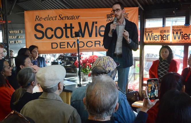 State Senator Scott Wiener spoke at the kickoff for his reelection campaign January 11 at Flore cafe. Photo: Rick Gerharter