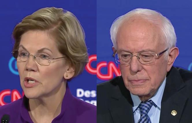 Democratic presidential candidates Senators Elizabeth Warren and Bernie Sanders got into a skirmish about whether Sanders once told Warren a woman couldn't win the presidency. Photo: Screengrab via CNN