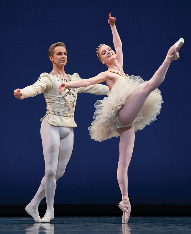 "San Francisco Ballet dancers Sasha De Sola and Tiit Helimets in the finale from Balanchine's ""Diamonds."" Photo: Erik Tomasson"