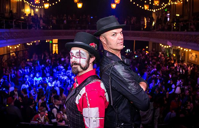 Justin Katz and Mike Gaines, co-producers of The Edwardian Ball, at 2019's event at The regency Ballroom. Photo: Marco Sanchez