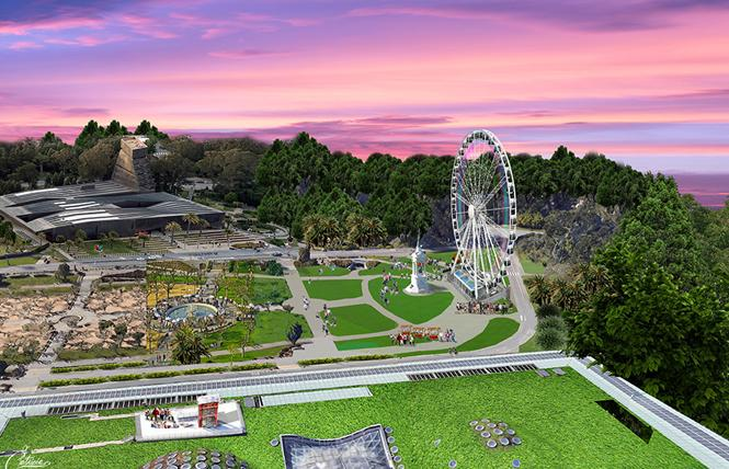 A rendering of the observation wheel approved for Golden Gate Park for its 150th birthday celebration. Rendering: Courtesy Skystar