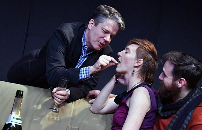 "Paul (Matt Weimer) demonstrates pistachios for Pip (Fenner) in Custom Made Theatre Co.'s ""How To Transcend a Happy Marriage."" Photo: Jay Yamada"