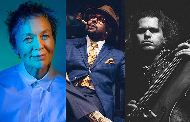 Laurie Anderson, jazz bass virtuoso Christian McBride and cellist Rubin Kodheli played SFJAZZ Center. Photo: SFJAZZ