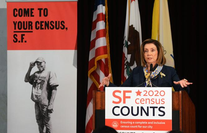 During a news conference earlier this month at San Francisco City Hall, House Speaker Nancy Pelosi talked about the importance of people completing the 2020 census, which starts in March. Photo: Rick Gerharter