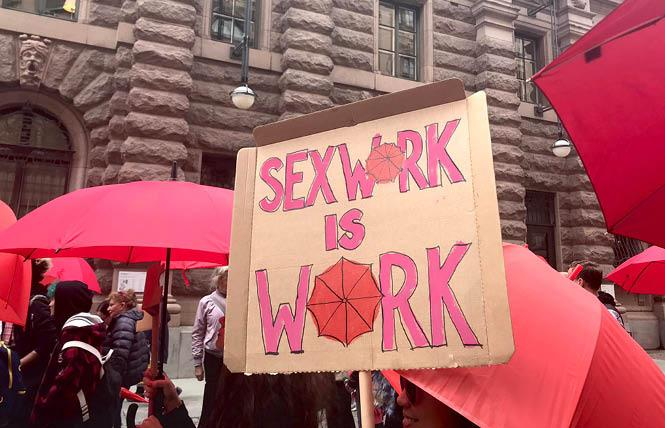 Sex workers marched in Sweden last year; the move to decriminalize sex work is gaining support in the U.S., according to a new survey. Photo: Courtesy PinkNews via Twitter