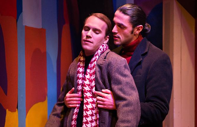 "J (Chris Steele) and Marcos (Vaho) have a ""complicated"" relationship in ""You'll Catch Flies"" at NCTC. Photo: Lois Tema"