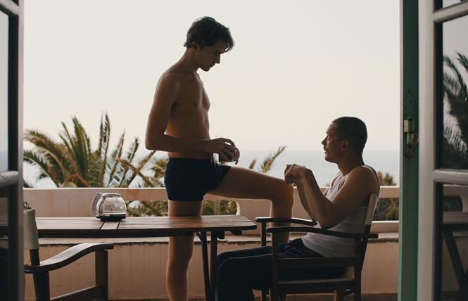 "Michail Tabakakis and Jacob Matschenz in director Florian Gottschick's queer feature ""Rest in Greece."" Photo: Courtesy Berlin & Beyond"
