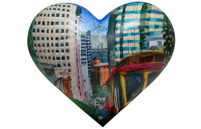 "The tabletop heart ""California Street,"" by Matthew Priest, is one of many that will be on display at Wilkes Bashford in Union Square."