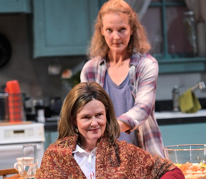 "Anne Darragh (foreground) and (back) Julie Eccles in Lucy Kirkwood's ""The Children"" at Aurora Theatre. Photo: Kevin Berne"