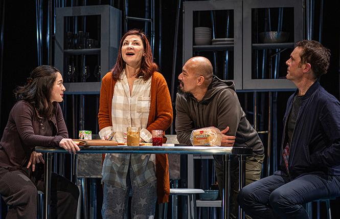 "Letter Writer #2 (Kina Kantor), Sugar (Susi Damilano), Letter Writer #3 (Jomar Tagatac) and Letter Writer #1 (Mark Anderson Phillips) make sandwiches together in ""Tiny Beautiful Things"" at San Francisco Playhouse. Photo: Jessica Palopoli"