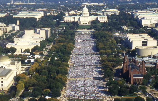 The AIDS Memorial Quilt was displayed on the National Mall in Washington, D.C. in 1996. Photo: Rick Gerharter