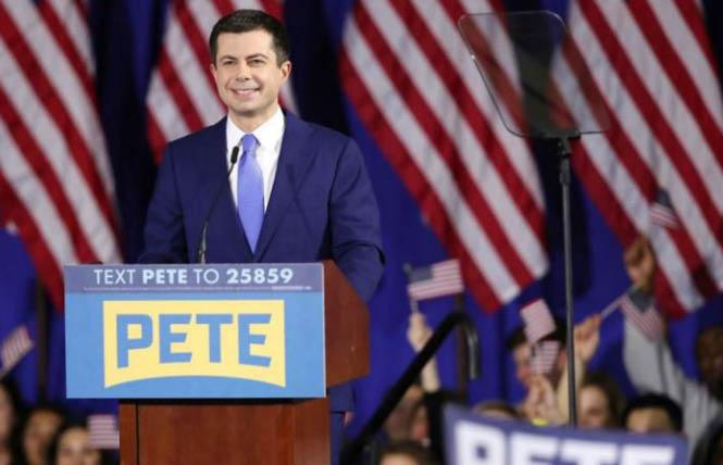 Pete Buttigieg addressed supporters after coming in second in Tuesday's Democratic primary in New Hampshire. Photo: Courtesy Yahoo