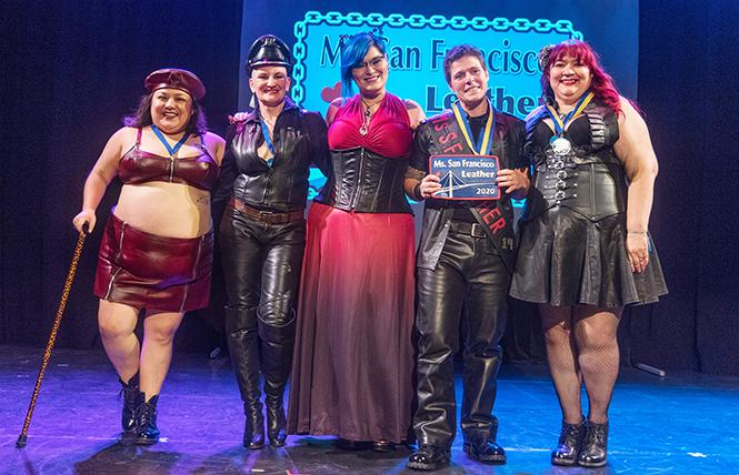 Left to right: Lola Ursula; Ms. WillowKat; Reika, Ms. SF Leather 2019; Caity Lynch, winner of Ms. SF Leather 2020; and Tammy Lg Hatter, first runner up Ms. SF Leather 2020. photo: Rich Stadtmiller