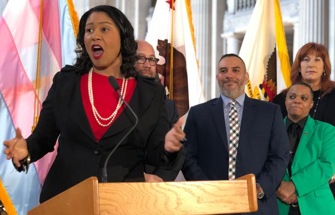 Mayor London Breed, left, was asked about the city corruption investigation now engulfing City Hall, after she disclosed in an online post that she accepted about $5,600 in car repairs from former Public Works chief Mohammed Nuru. Photo: John Ferrannini