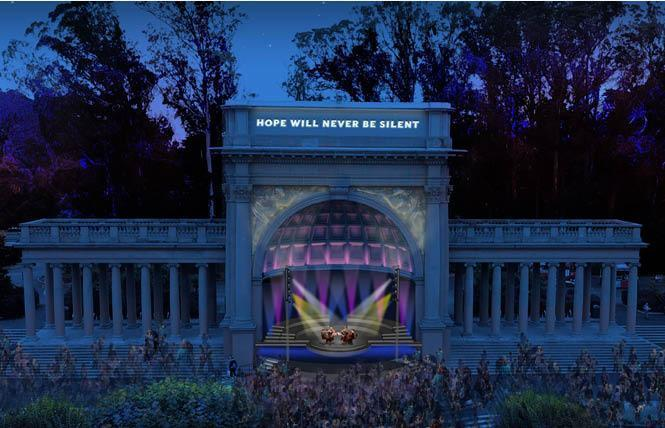 An artist's rendering shows Illuminate's plan for incorporating a quote attributed to Harvey Milk on the bandstand in Golden Gate Park. Photo: Courtesy Illuminate