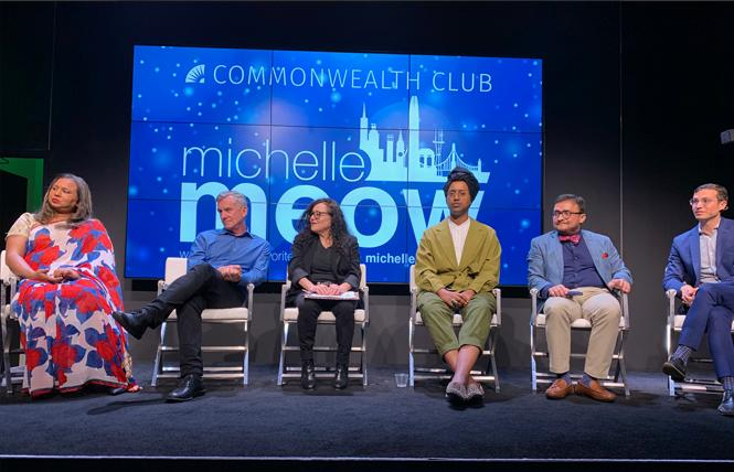 Panelists Anjali Rimi, left, Terry Beswick, Melanie Nathan, Honey Mahogany, David Campos, and Peter Gallotta discussed their picks for Democratic candidates for president at a February 21 Commonwealth Club forum. Photo: Sari Staver