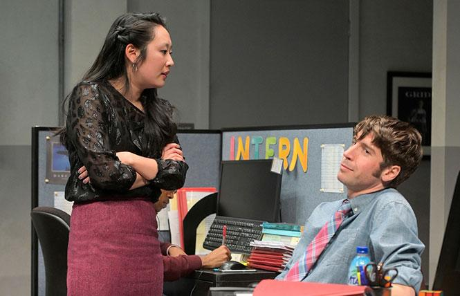 """Kendra (Melanie Arii Mah) trades barbs with Dean (Jeremy Kahn) in Branden Jacobs-Jenkins' """"Gloria,"""" now playing A.C.T.'s Strand Theater. Photo: Kevin Berne"""