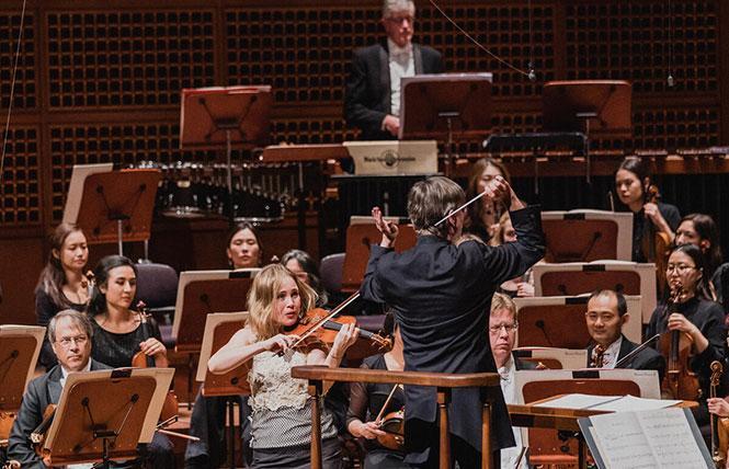 Leila Josefowicz performs Esa-Pekka Salonen's Violin Concerto with the San Francisco Symphony and Salonen conducting at Davies Hall. Photo: Brandon Patoc