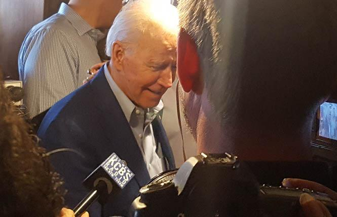 Former vice president Joseph R. Biden Jr. was surrounded by the media during a stop at the Buttercup restaurant in Oakland Tuesday morning. Photo: Cynthia Laird