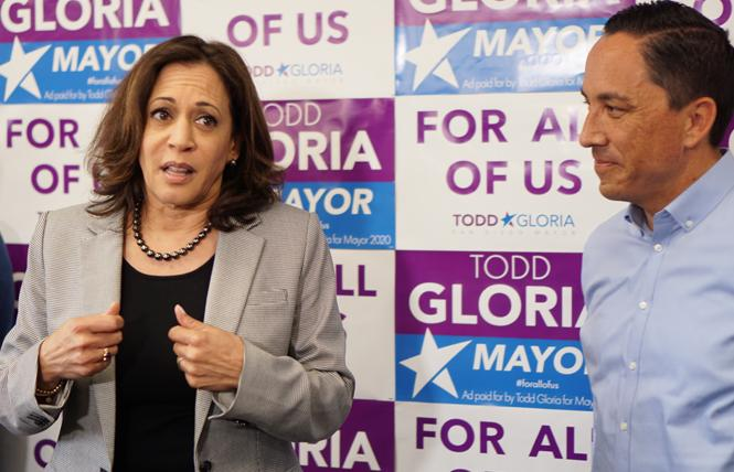Senator Kamala Harris, left, stumped Sunday in San Diego for mayoral candidate Todd Gloria, who finished first in Tuesday's primary. Photo: Courtesy Gloria for Mayor campaign