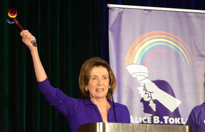 House Speaker Nancy Pelosi, shown at last year's Alice B. Toklas LGBT Democratic Club Pride Breakfast, will face a Democratic challenger in November, but won a commanding lead in Tuesday's primary. Photo: Rick Gerharter