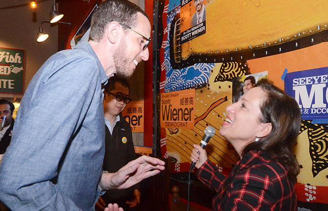 State Senator Scott Wiener greets Lieutenant Governor Eleni Kounalakis at his election night party Tuesday. Photo: Rick Gerharter