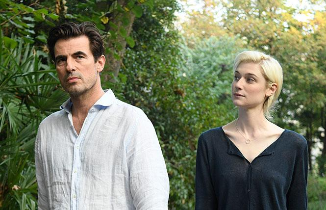 "Claes Bang as James Figueras, Elizabeth Debicki as Berenice Hollis in ""The Burnt Orange Heresy."" Photo: Jose Haro, courtesy Sony Pictures Classics"