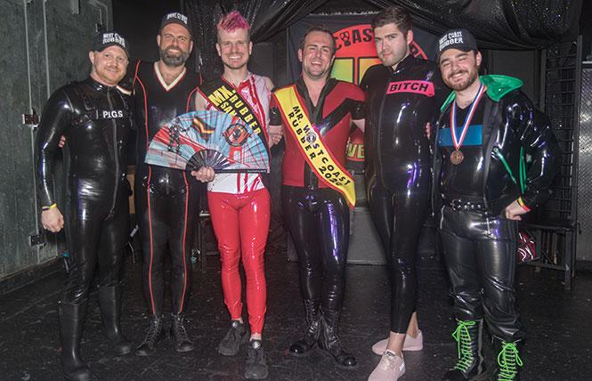 At the Mr. West Coast Rubber 2020 contest (left to right): Matthew Jensen, Producer; Reid Dalgleish, Mr. West Coast Rubber 2010; Eleven, Mx. Rubber San Francisco 2020; Mark Weston, Mr. West Coast Rubber 2020; Nico Watson, Mr. San Francisco Rubber 2018 and 1st Runner Up Mr. International Rubber 22; and Rodi Coderage, Mr. Midwest Rubber 2018 and 2nd Runner Up Mr. International Rubber 23. photo: Rich Stadtmiller