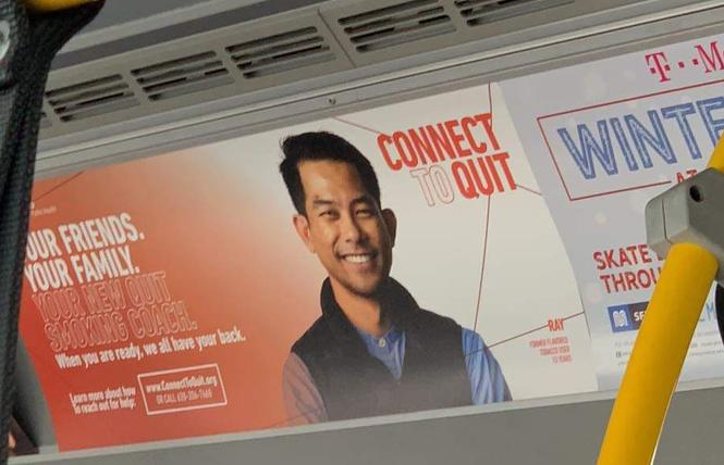 A smoking cessation ad poster on Muni buses features a man who was convicted in connection with an elder abuse case.