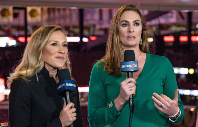 Kate Scott, left, and A.J. Mleczko were on-air during Sunday's NHL game. Photo: Courtesy NBC Sports