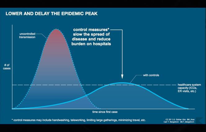 The flattened curve shows how a reduced rate of coronavirus infection could reduce the impact on hospitals and the wider healthcare system. Image: Esther Kim, Carl T. Bergstrom via World Economic Forum