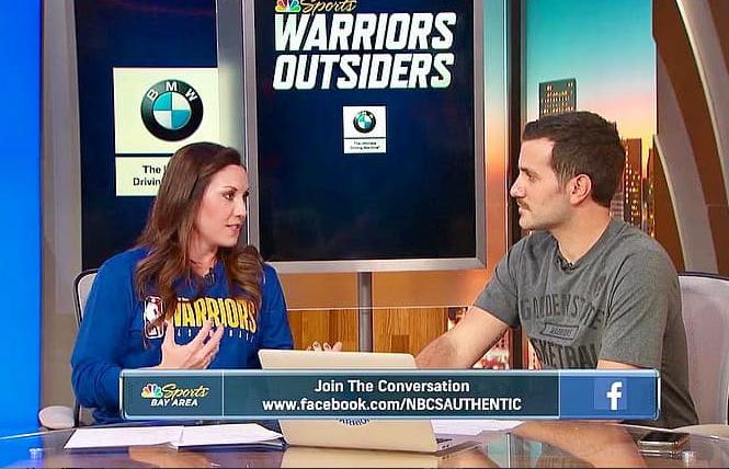 "Blair Hardiek, left, talked with Grant Liffmann during a November broadcast of ""Warriors Outsiders"" on NBC Sports Bay Area. Photo: Courtesy Facebook"