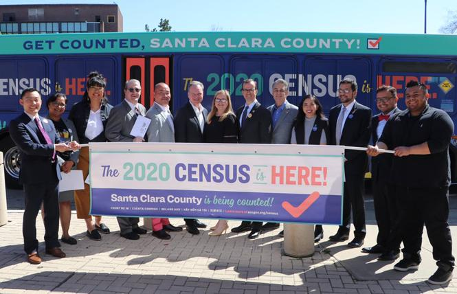 Santa Clara County officials joined LGBT advocates and others in promoting the census during a March 12 news conference, before social distancing was widely implemented. Photo: Courtesy Santa Clara County