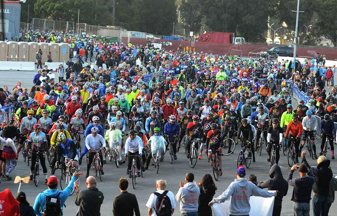 Some of the 2,000-plus participants in the 2017 AIDS LifeCycle ride to Los Angeles leave from Cow Palace in San Francisco. Photo: Rick Gerharter