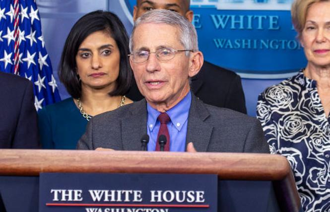 Dr. Anthony Fauci spoke at a White House news conference on coronavirus. Photo: Courtesy Newsweek