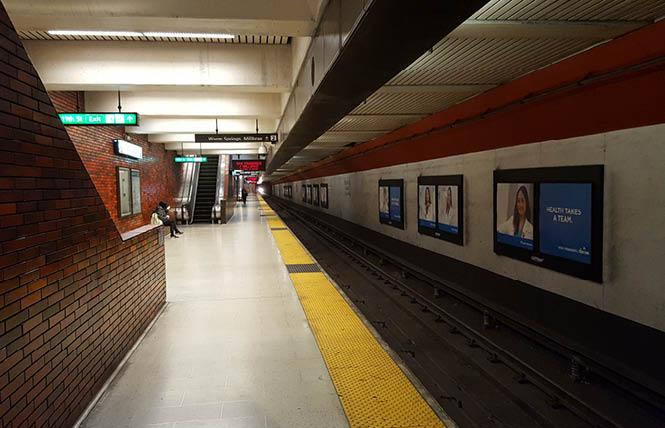 The platform for San Francisco-bound trains was nearly deserted Tuesday morning at the 12th Street/City Center BART station in downtown Oakland. Photo: Cynthia Laird