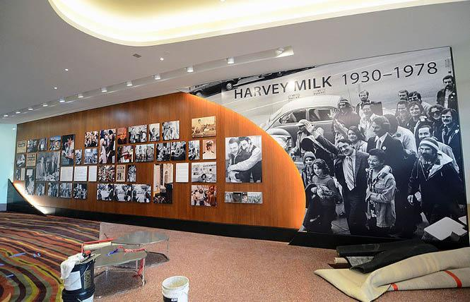 The opening of the permanent SFO Harvey Milk installation, shown here still being worked on earlier this month, has been delayed. Photo: Rick Gerharter