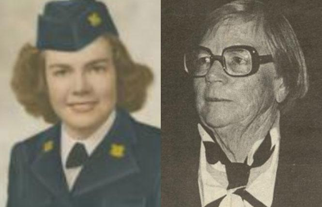 LEFT: Charlotte Coleman's Coast Guard. photo: Bay Area Reporter, 2016  RIGHT: Charlotte Coleman in the Bay Area Reporter, 1996. photo: Darlene/Photo Graphics
