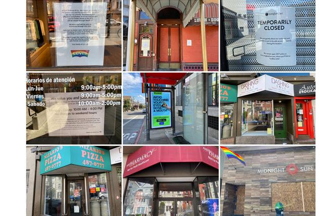 Signs of the times: The toll of the coronavirus shelter in place order is shown in photos of shuttered businesses in San Francisco's Castro district, which impacts the Bay Area Reporter as the paper is delivered to many of them. Photos: Michael L. Kerner