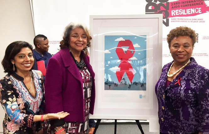 Dr. Monica Gandhi, left, and Cynthia Carey-Grant, the AIDS 2020 co-chairs, talked with Congresswoman Barbara Lee at a conference kickoff event last October in San Francisco. Photo: Liz Highleyman