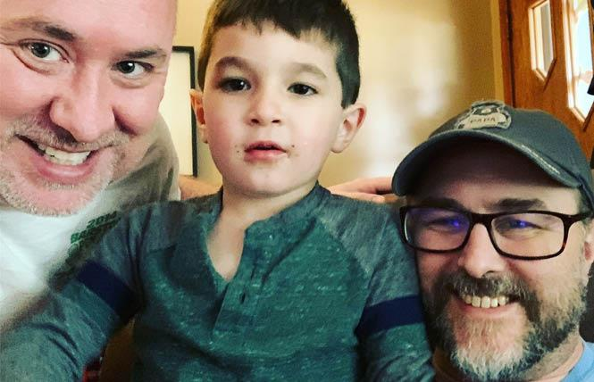 A GoFundMe campaign has been started for Chad McBride, Ph.D., right, to help find an accommodating home for him, his husband, Allen Saunders, left, and their son, Jackson, after McBride was diagnosed with ALS. Photo: Courtesy GoFundMe