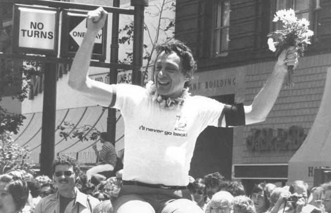 The late supervisor Harvey Milk led a coalition of different groups against the 1978 Briggs initiative that would have barred LGBTs from teaching in public schools. If went down to defeat that November. Photo: Courtesy GLBT Historical Society