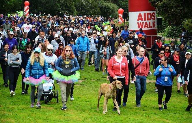 Participants started the 6.2-mile route of AIDS Walk San Francisco in Golden Gate Park July 14, 2019. Photo: Rick Gerharter