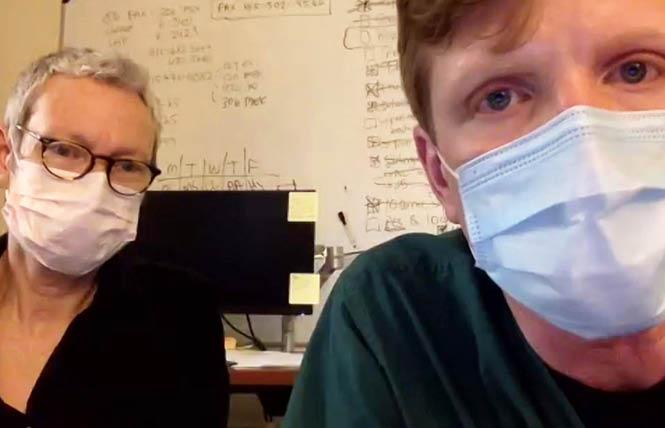 Ward 86 deputy clinic director Mary Lawrence-Hicks, left, and nurse manager Jon Oskarsson discussed coronavirus and HIV/AIDS during a virtual town hall. Screengrab via Liz Highleyman