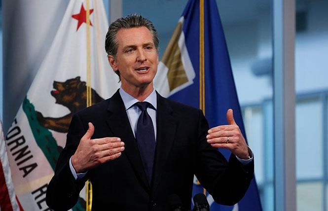 Governor Gavin Newsom spoke during one of his daily briefings. Photo: Courtesy AP