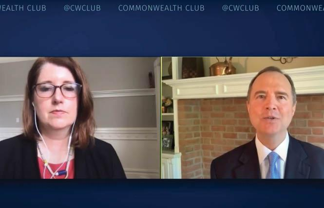 Mother Jones editor Clara Jeffery talked with Congressman Adam Schiff during a virtual presentation for the Commonwealth Club of California. Photo: Screengrab